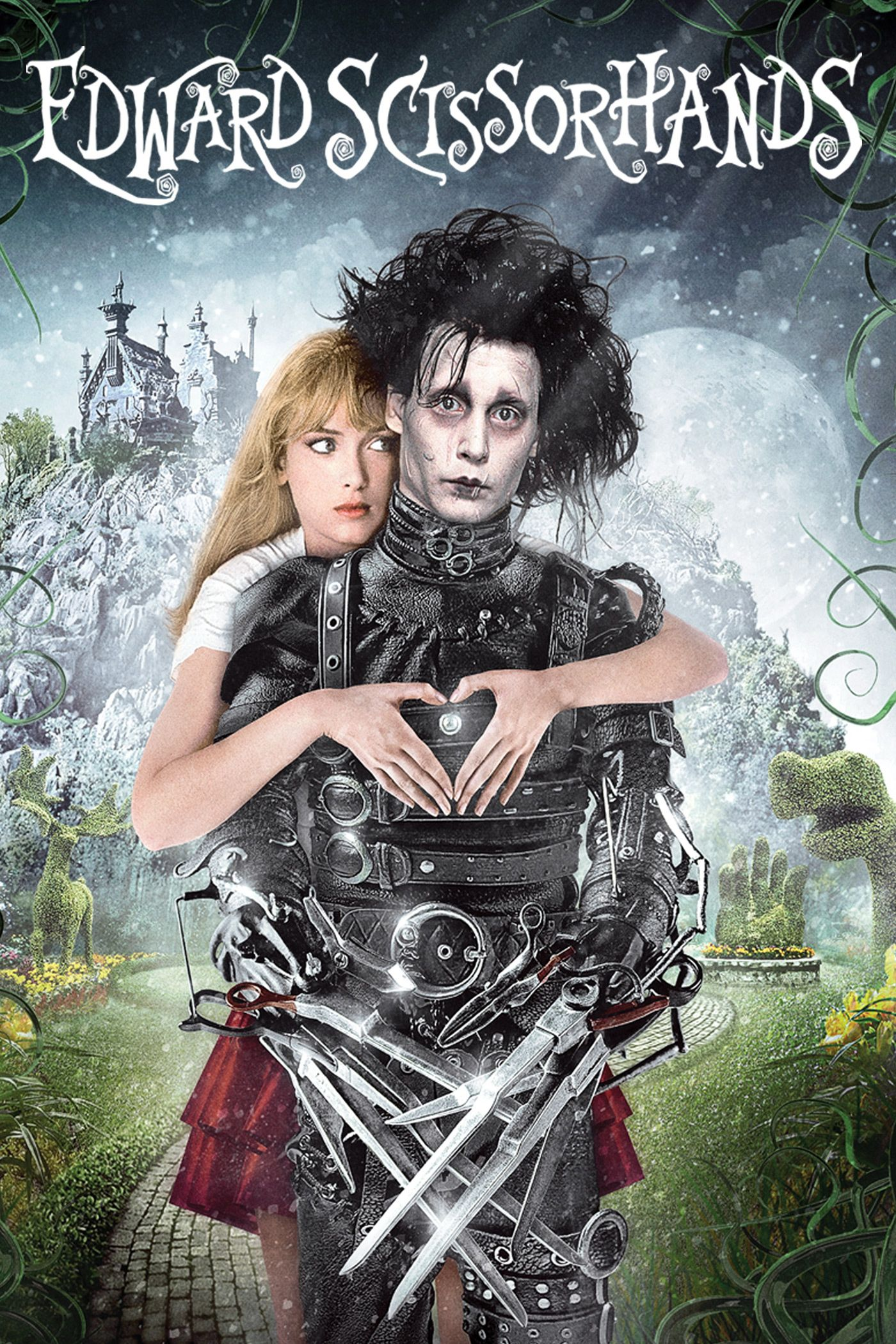 Edward's creator did not finish his hands; instead, he has metal scissors for his hands. Peg discovered him, welcomed him, and received him as one of her own.