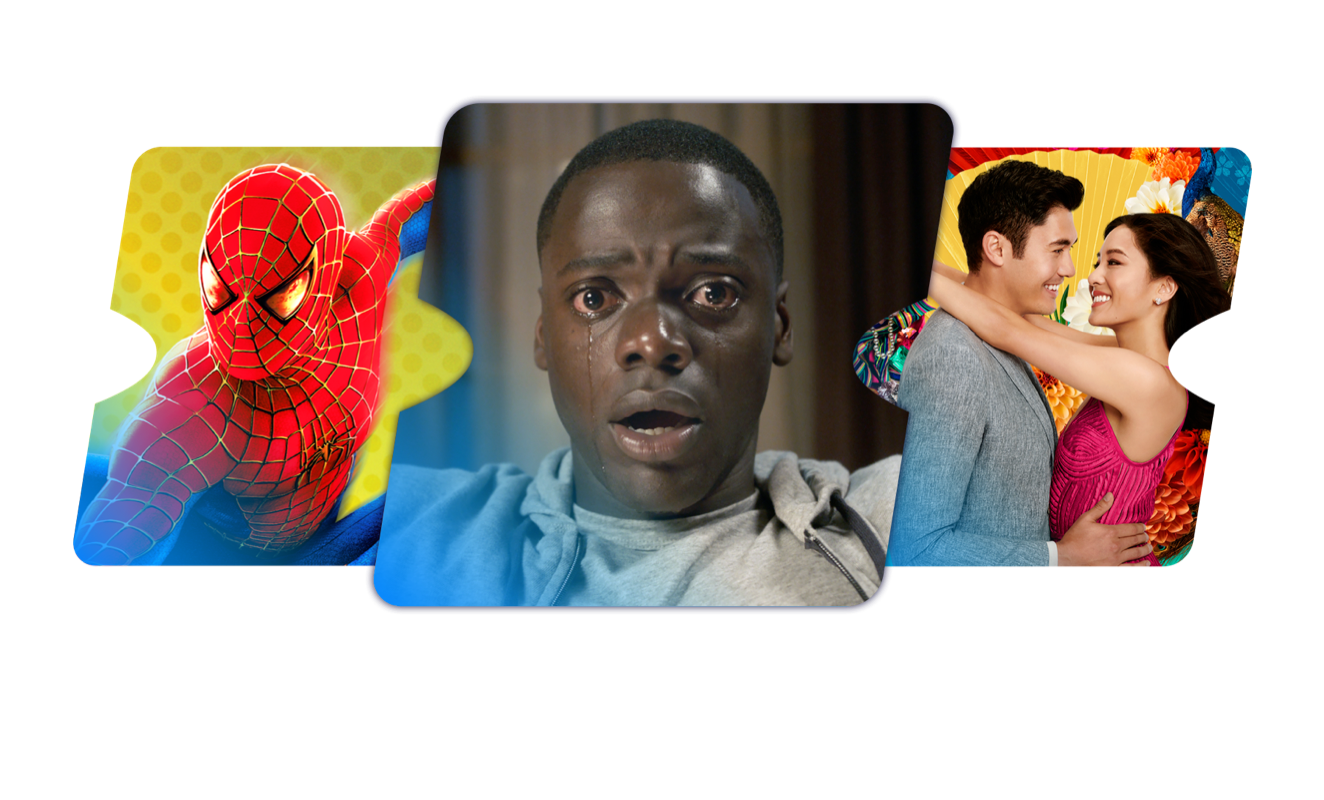 Stack of images from Spider Man, Get Out, and Crazy Rich Asians.